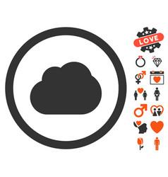 Cloud icon with love bonus vector