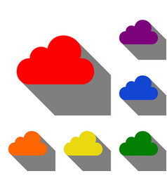 cloud sign set of red orange vector image