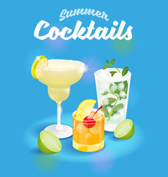 cocktails poster vector image