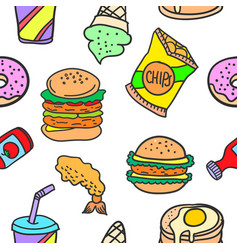 Collection stock of various food doodles vector