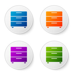 color furniture nightstand icon isolated on white vector image