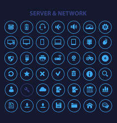 computer and server networks icon set trendy flat vector image