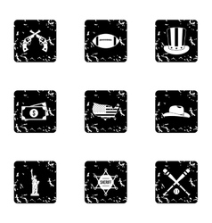 Country USA icons set grunge style vector