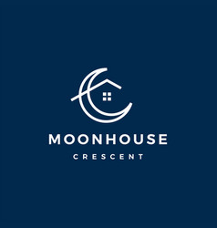 crescent moon house logo icon vector image