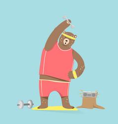 cute bear cartoon character doing exercises vector image