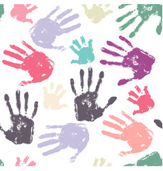 Family handprint seamless pattern vector