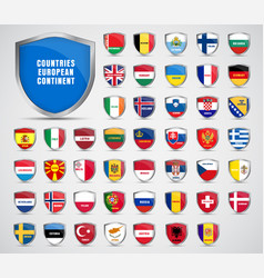 Flags countries european continent vector