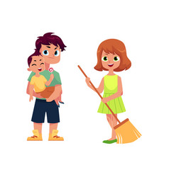 Flat man and infant baby girl with broom vector