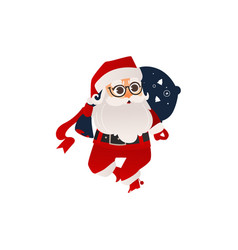 flat santa claus with present boxes bag vector image