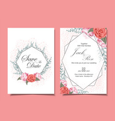 Floral wedding invitation cards set with roses vector