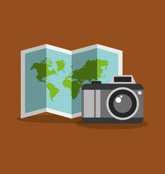 folded map and camera photo tourist equipment vector image