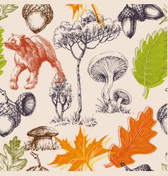 Forest doodles seamless pattern woods design vector