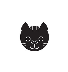 funny cat head black concept icon funny vector image