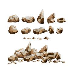 Granite rocks set in cartoon style vector