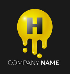 h letter splash logo yellow dots and bubbles vector image