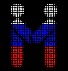 halftone russian persons handshake icon vector image
