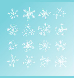hand drawn set of snowflakes blue and white vector image