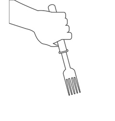 hand holding fork icon vector image