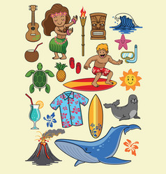Hawaii cartoon set vector