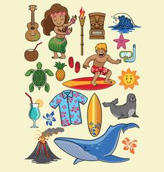 Hawaii cartoon set vector