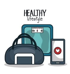 healthy lifestyle elements icons sport design vector image