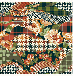 houndstooth tartan and roses fabric patchwork vector image