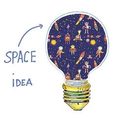 Idea lightbulb space vector
