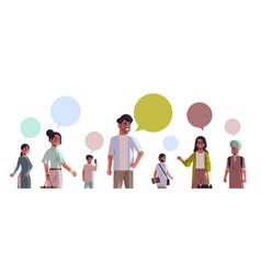 Indian men women with chat bubble speech social vector
