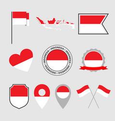 Indonesia flag icon set flag republic of vector