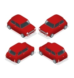 Isometric Mini car model closeup vector