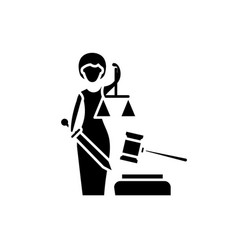 Justice black icon sign on isolated vector