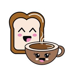 kawaii happy halved bread and coffee cup vector image