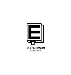 Letter e for book and education logo design vector