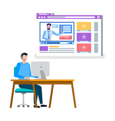 Man working in office online courses study vector