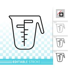 measuring cup simple black line icon vector image