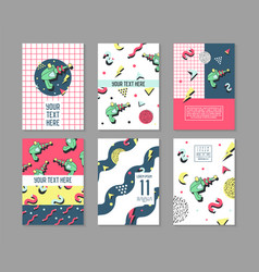 Memphis posters set space theme hipster abstract vector