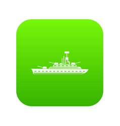 Military warship icon digital green vector