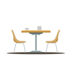 Modern round table with curved chairs flat color vector