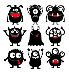Monster black round silhouette icon set eyes vector