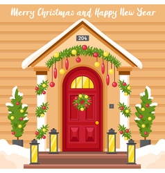 New Year Card With House Decorated For Christmas vector