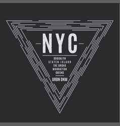 New york tee print with boroughs names vector