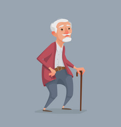 Old man is standing with a cane vector