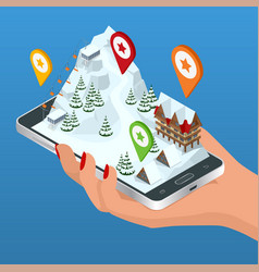 Online hotel booking ski resort slope people on vector