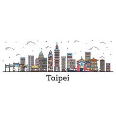 Outline taipei taiwan city skyline with color vector