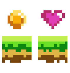 Pixel art style coin and heart for retro vector