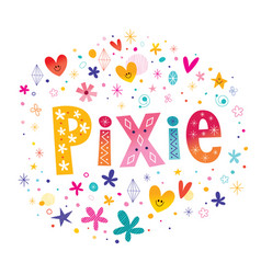 Pixie girls name vector