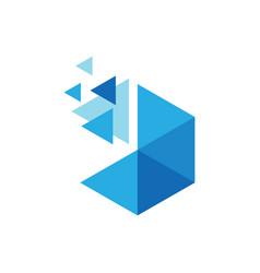 polygon dot triangle technology logo vector image
