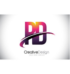 Rd r d purple letter logo with swoosh design vector