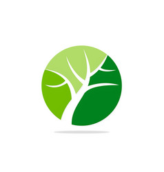 round green tree nature logo vector image