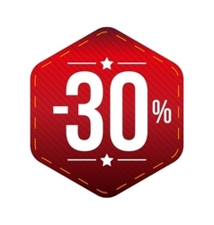 Sale thirty percent off banner red patch vector